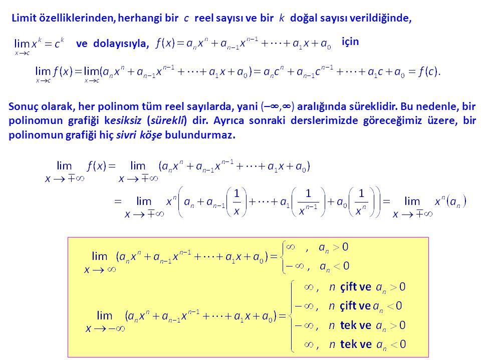 Limit özelliklerinden, herhangi bir c reel sayısı ve bir k doğal sayısı verildiğinde, ve dolayısıyla, Sonuç olarak, her polinom tüm reel sayılarda, yani (– ,  ) aralığında süreklidir.
