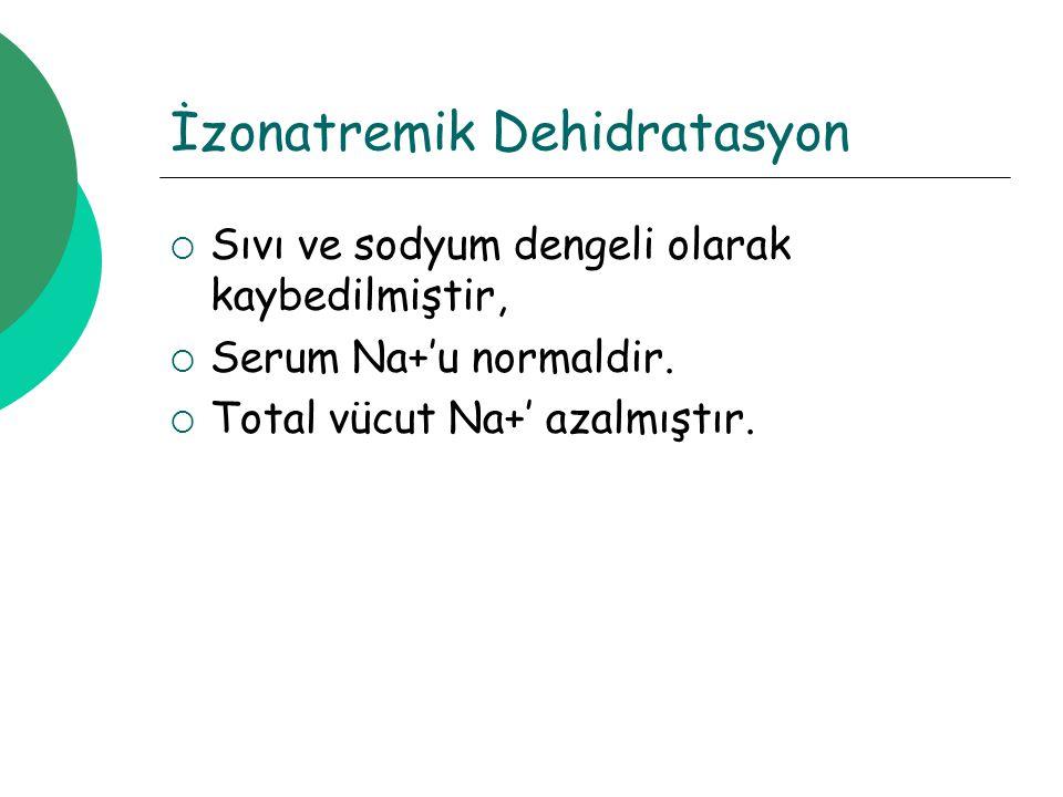 İzonatremik Dehidratasyon  Sıvı ve sodyum dengeli olarak kaybedilmiştir,  Serum Na+'u normaldir.