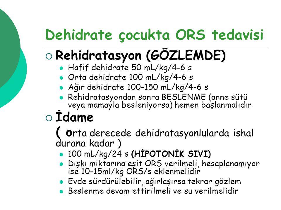 Dehidrate çocukta ORS tedavisi  Rehidratasyon (GÖZLEMDE) Hafif dehidrate 50 mL/kg/4-6 s Orta dehidrate 100 mL/kg/4-6 s Ağır dehidrate 100-150 mL/kg/4-6 s Rehidratasyondan sonra BESLENME (anne sütü veya mamayla besleniyorsa) hemen başlanmalıdır  İdame ( o rta derecede dehidratasyonlularda ishal durana kadar ) 100 mL/kg/24 s (HİPOTONİK SIVI) Dışkı miktarına eşit ORS verilmeli, hesaplanamıyor ise 10-15ml/kg ORS/s eklenmelidir Evde sürdürülebilir, ağırlaşırsa tekrar gözlem Beslenme devam ettirilmeli ve su verilmelidir