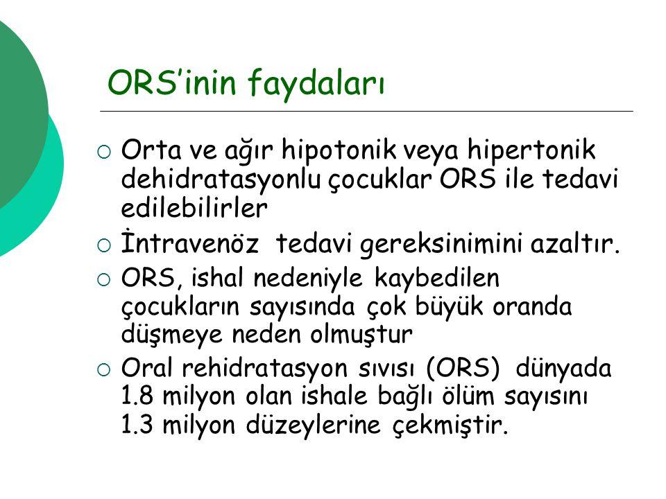 ORS'inin faydaları  Orta ve ağır hipotonik veya hipertonik dehidratasyonlu çocuklar ORS ile tedavi edilebilirler  İntravenöz tedavi gereksinimini azaltır.