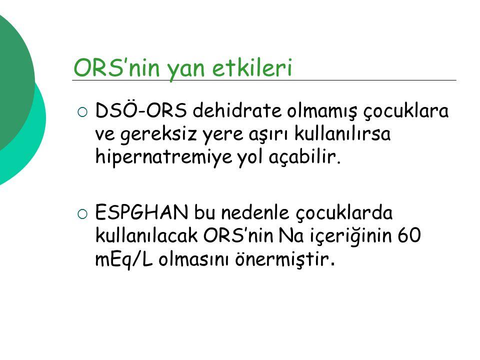 ORS'nin yan etkileri  DSÖ-ORS dehidrate olmamış çocuklara ve gereksiz yere aşırı kullanılırsa hipernatremiye yol açabilir.