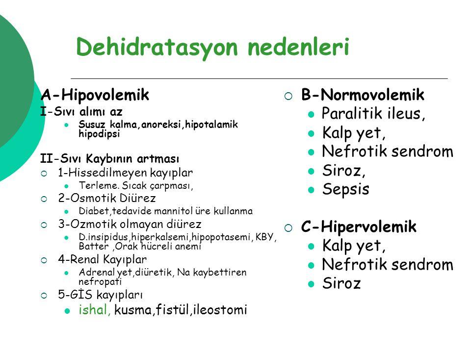 Dehidratasyon nedenleri A-Hipovolemik I-Sıvı alımı az Susuz kalma,anoreksi,hipotalamik hipodipsi II-Sıvı Kaybının artması  1-Hissedilmeyen kayıplar Terleme.
