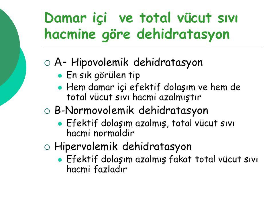 Damar içi ve total vücut sıvı hacmine göre dehidratasyon  A- Hipovolemik dehidratasyon En sık görülen tip Hem damar içi efektif dolaşım ve hem de total vücut sıvı hacmi azalmıştır  B-Normovolemik dehidratasyon Efektif dolaşım azalmış, total vücut sıvı hacmi normaldir  Hipervolemik dehidratasyon Efektif dolaşım azalmış fakat total vücut sıvı hacmi fazladır