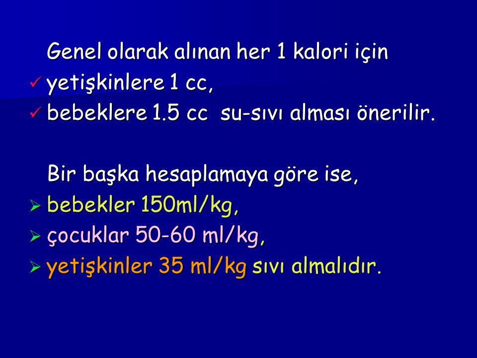 Genel olarak alınan her 1 kalori için yetişkinlere 1 cc, yetişkinlere 1 cc, bebeklere 1.5 cc su-sıvı alması önerilir.