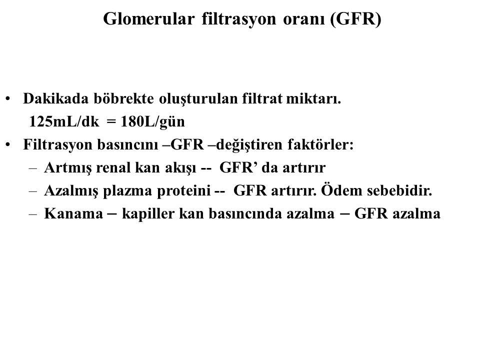 Dakikada böbrekte oluşturulan filtrat miktarı. 125mL/dk = 180L/gün Filtrasyon basıncını –GFR –değiştiren faktörler: –Artmış renal kan akışı -- GFR' da