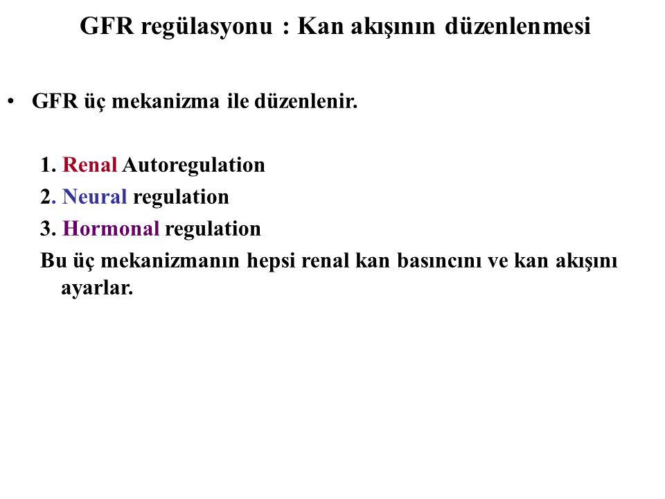 GFR regülasyonu : Kan akışının düzenlenmesi GFR üç mekanizma ile düzenlenir. 1. Renal Autoregulation 2. Neural regulation 3. Hormonal regulation Bu üç