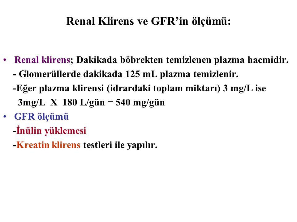Renal Klirens ve GFR'in ölçümü: Renal klirens; Dakikada böbrekten temizlenen plazma hacmidir. - Glomerüllerde dakikada 125 mL plazma temizlenir. -Eğer
