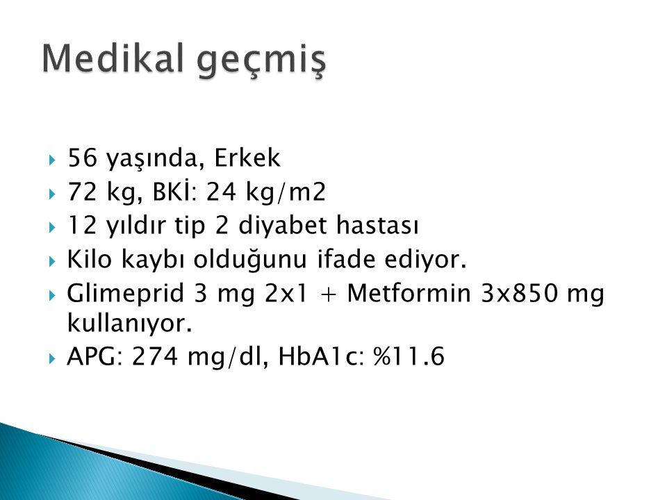  56 yaşında, Erkek  72 kg, BKİ: 24 kg/m2  12 yıldır tip 2 diyabet hastası  Kilo kaybı olduğunu ifade ediyor.  Glimeprid 3 mg 2x1 + Metformin 3x85