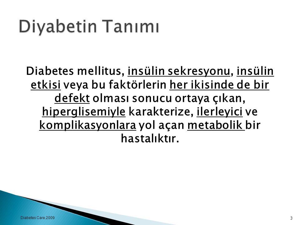 Diabetes mellitus, insülin sekresyonu, insülin etkisi veya bu faktörlerin her ikisinde de bir defekt olması sonucu ortaya çıkan, hiperglisemiyle karak