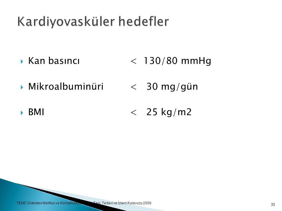  Kan basıncı< 130/80 mmHg  Mikroalbuminüri< 30 mg/gün  BMI < 25 kg/m2 35 TEMD Diabetes Mellitus ve Komplikasyonlarının Tanı, Tedavi ve İzlem Kulavu