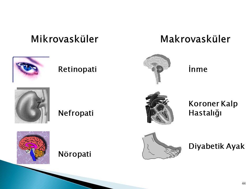 MikrovaskülerMakrovasküler İnmeRetinopati Koroner Kalp Hastalığı Nefropati Diyabetik Ayak Nöropati KOMPLİKASYONLAR 44