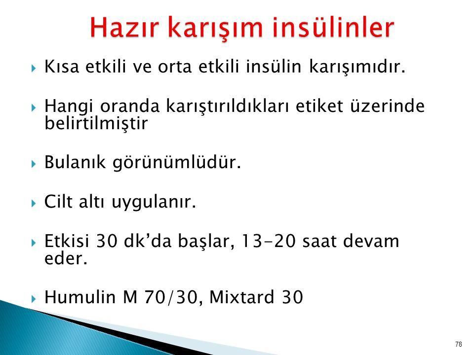  Kısa etkili ve orta etkili insülin karışımıdır.  Hangi oranda karıştırıldıkları etiket üzerinde belirtilmiştir  Bulanık görünümlüdür.  Cilt altı