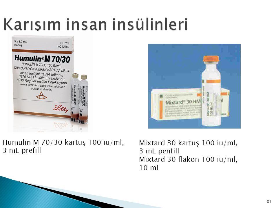 81 Karışım insan insülinleri Humulin M 70/30 kartuş 100 iu/ml, 3 mL prefill Mixtard 30 kartuş 100 iu/ml, 3 mL penfill Mixtard 30 flakon 100 iu/ml, 10