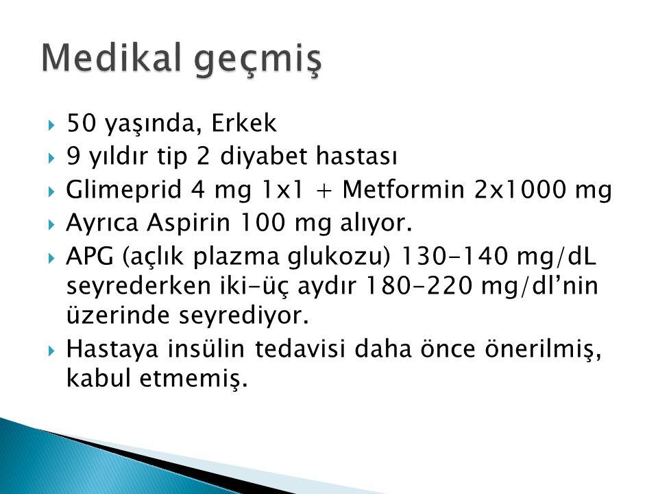 50 yaşında, Erkek  9 yıldır tip 2 diyabet hastası  Glimeprid 4 mg 1x1 + Metformin 2x1000 mg  Ayrıca Aspirin 100 mg alıyor.  APG (açlık plazma gl