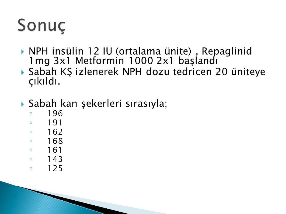  NPH insülin 12 IU (ortalama ünite), Repaglinid 1mg 3x1 Metformin 1000 2x1 başlandı  Sabah KŞ izlenerek NPH dozu tedricen 20 üniteye çıkıldı.  Saba