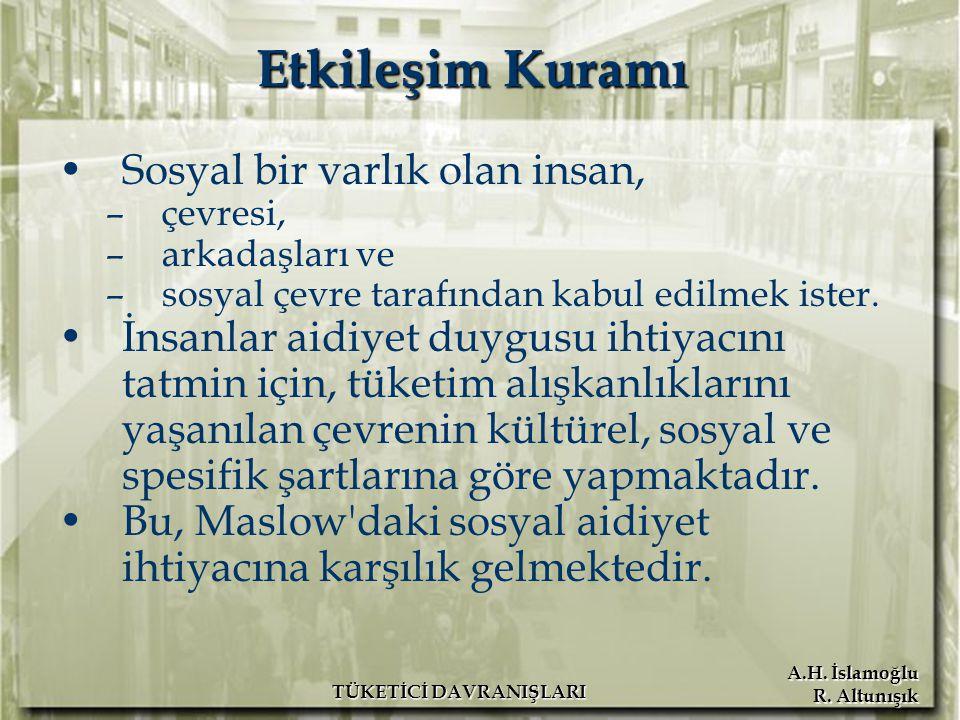 A.H. İslamoğlu R. Altunışık TÜKETİCİ DAVRANIŞLARI Etkileşim Kuramı Sosyal bir varlık olan insan, –çevresi, –arkadaşları ve –sosyal çevre tarafından ka