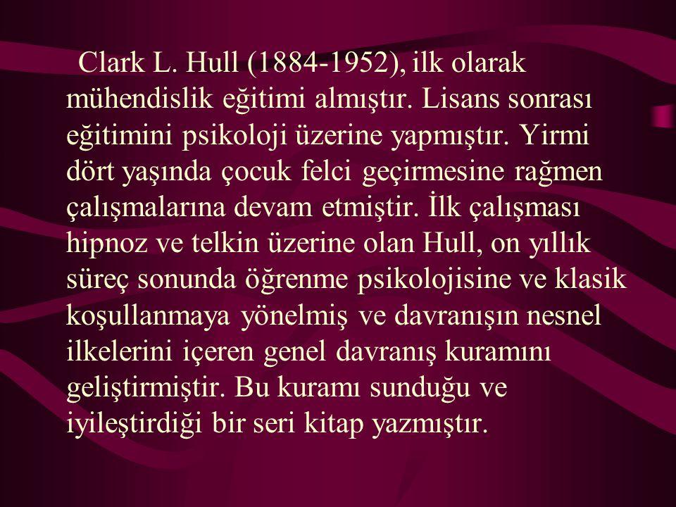 Clark L. Hull (1884-1952), ilk olarak mühendislik eğitimi almıştır. Lisans sonrası eğitimini psikoloji üzerine yapmıştır. Yirmi dört yaşında çocuk fel