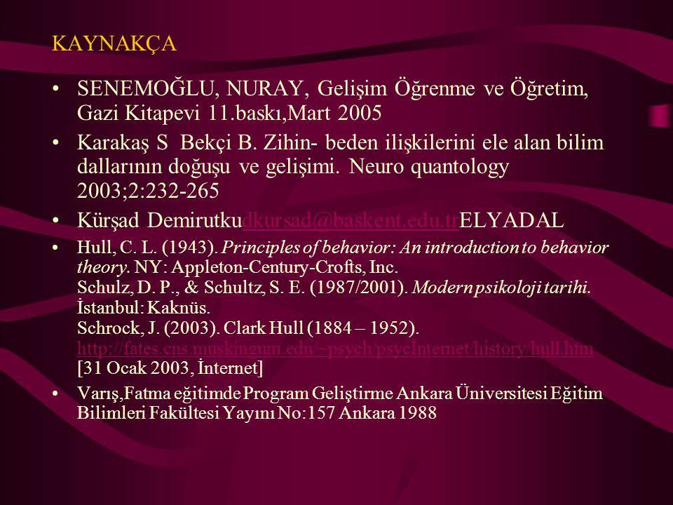 KAYNAKÇA SENEMOĞLU, NURAY, Gelişim Öğrenme ve Öğretim, Gazi Kitapevi 11.baskı,Mart 2005 Karakaş S Bekçi B. Zihin- beden ilişkilerini ele alan bilim da