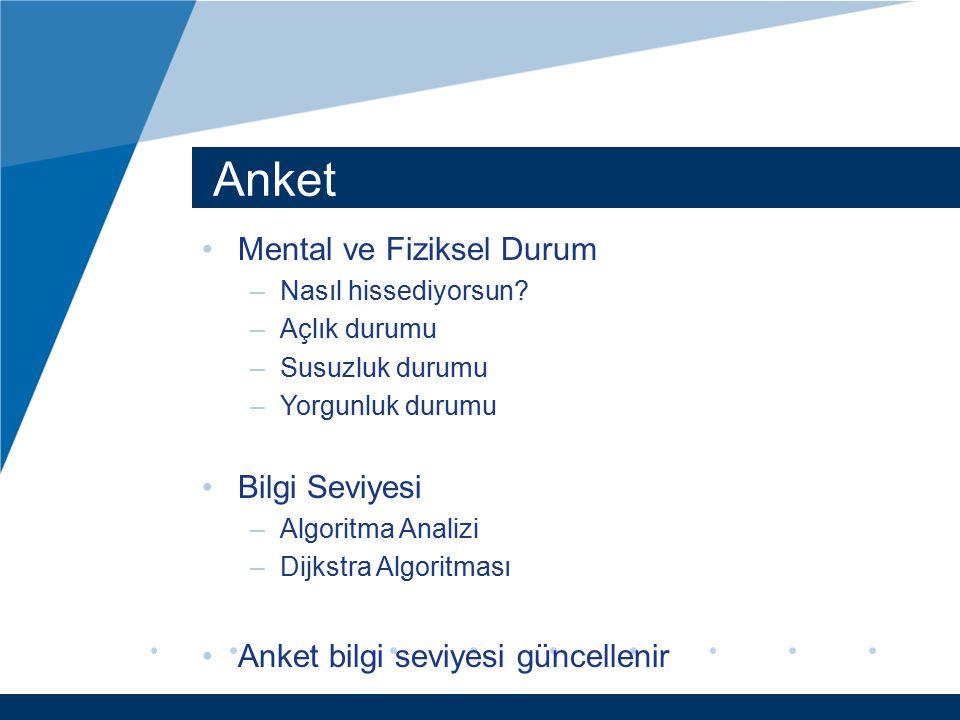 Anket Mental ve Fiziksel Durum –Nasıl hissediyorsun? –Açlık durumu –Susuzluk durumu –Yorgunluk durumu Bilgi Seviyesi –Algoritma Analizi –Dijkstra Algo