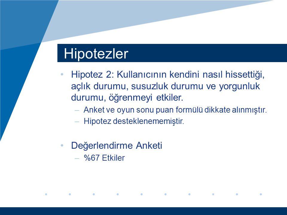 Hipotezler Hipotez 2: Kullanıcının kendini nasıl hissettiği, açlık durumu, susuzluk durumu ve yorgunluk durumu, öğrenmeyi etkiler. –Anket ve oyun sonu