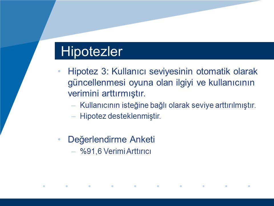 Hipotezler Hipotez 3: Kullanıcı seviyesinin otomatik olarak güncellenmesi oyuna olan ilgiyi ve kullanıcının verimini arttırmıştır. –Kullanıcının isteğ