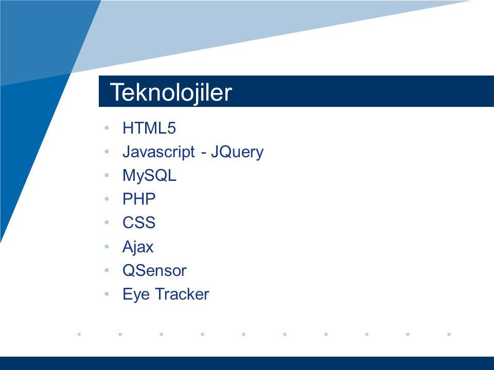 Teknolojiler HTML5 Javascript - JQuery MySQL PHP CSS Ajax QSensor Eye Tracker