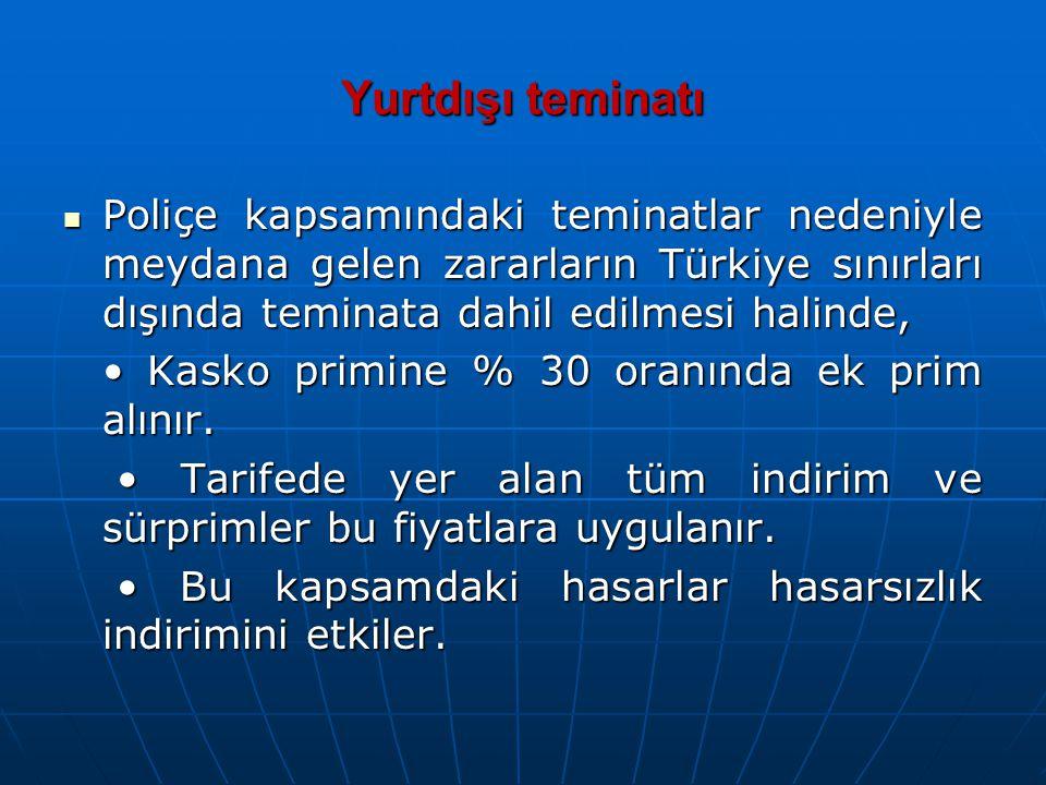 Yurtdışı teminatı Poliçe kapsamındaki teminatlar nedeniyle meydana gelen zararların Türkiye sınırları dışında teminata dahil edilmesi halinde, Poliçe