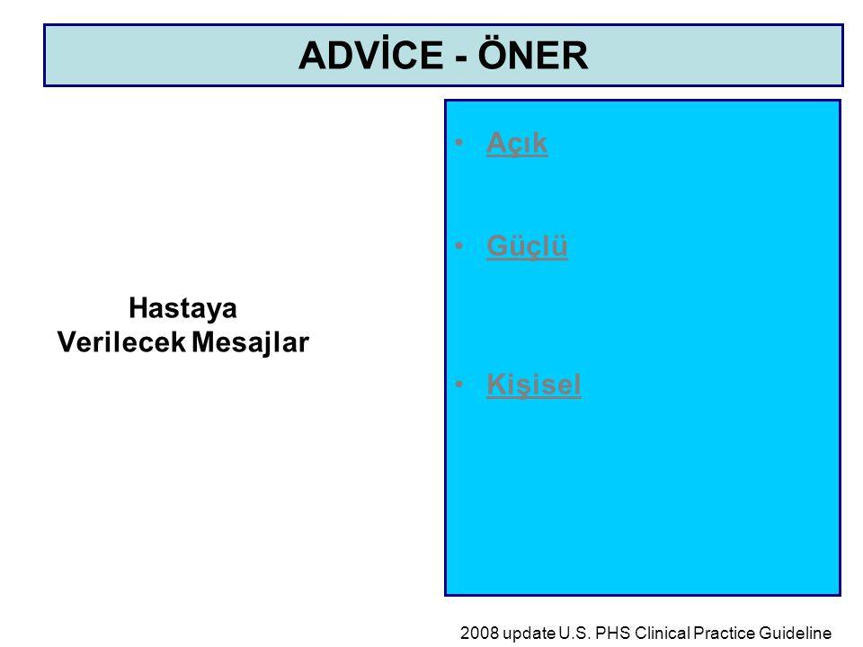 Hastaya Verilecek Mesajlar Açık Güçlü Kişisel ADVİCE - ÖNER 2008 update U.S. PHS Clinical Practice Guideline