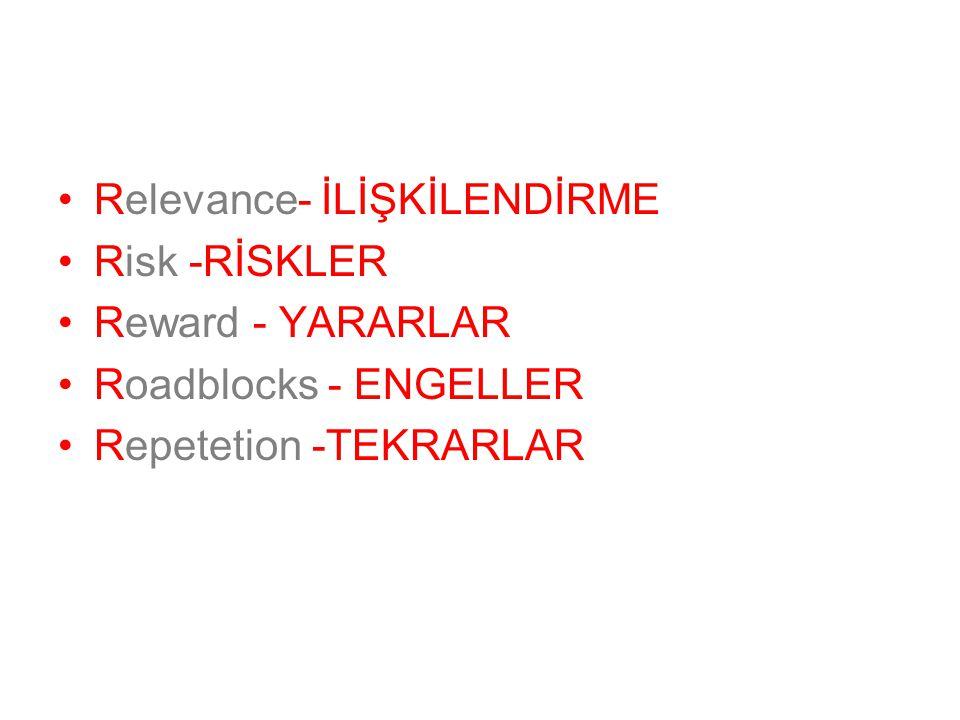 Relevance- İLİŞKİLENDİRME Risk -RİSKLER Reward - YARARLAR Roadblocks - ENGELLER Repetetion -TEKRARLAR