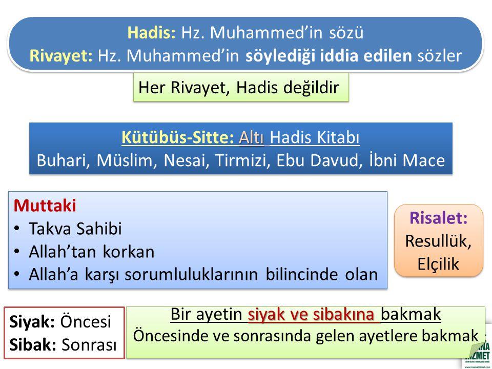 Hadis: Hz. Muhammed'in sözü Rivayet: Hz. Muhammed'in söylediği iddia edilen sözler Hadis: Hz.