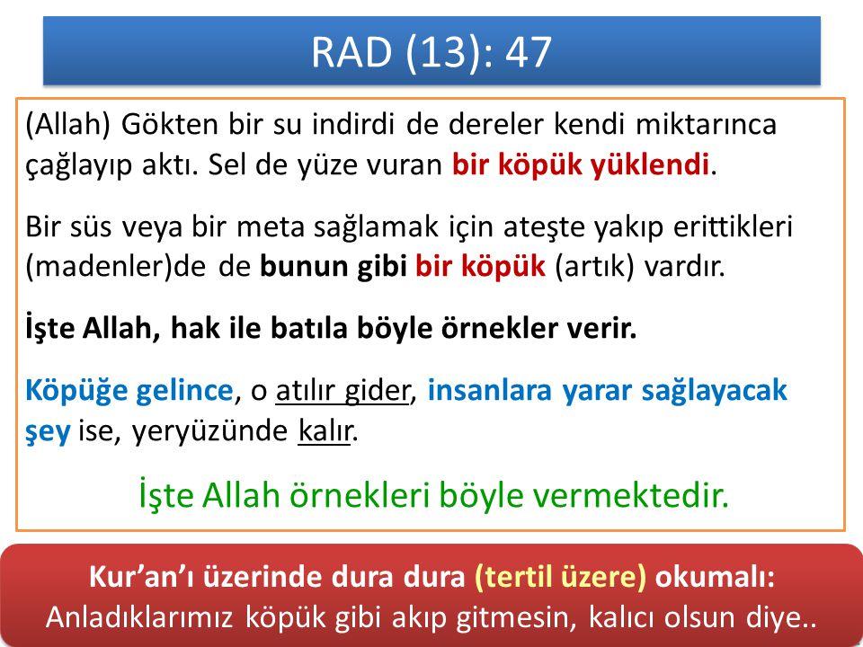 RAD (13): 47 (Allah) Gökten bir su indirdi de dereler kendi miktarınca çağlayıp aktı.