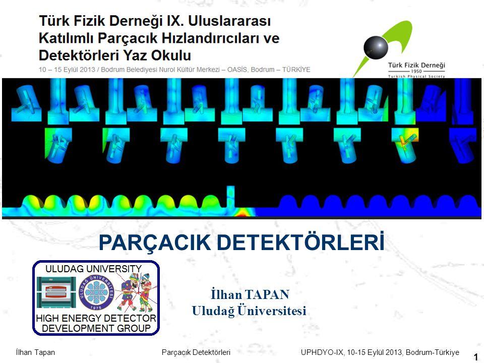 İlhan Tapan Parçacık Detektörleri UPHDYO-IX, 10-15 Eylül 2013, Bodrum-Türkiye 42 Sintilasyon Detektörleri- İnorganik Sintilatörler Sintilatör malzemeler: Sodium iodide (NaI), Cesium iodide (CsI) Barium fluoride (BaF2) ….