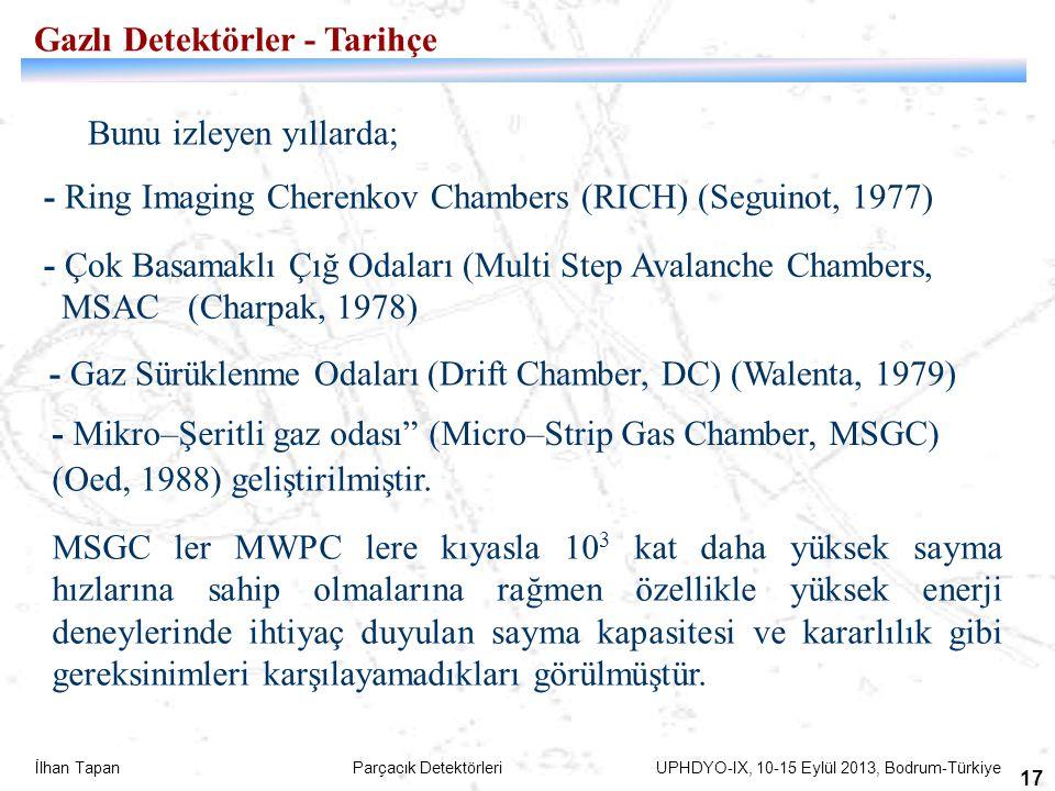 İlhan Tapan Parçacık Detektörleri UPHDYO-IX, 10-15 Eylül 2013, Bodrum-Türkiye 17 - Gaz Sürüklenme Odaları (Drift Chamber, DC) (Walenta, 1979) - Çok Ba