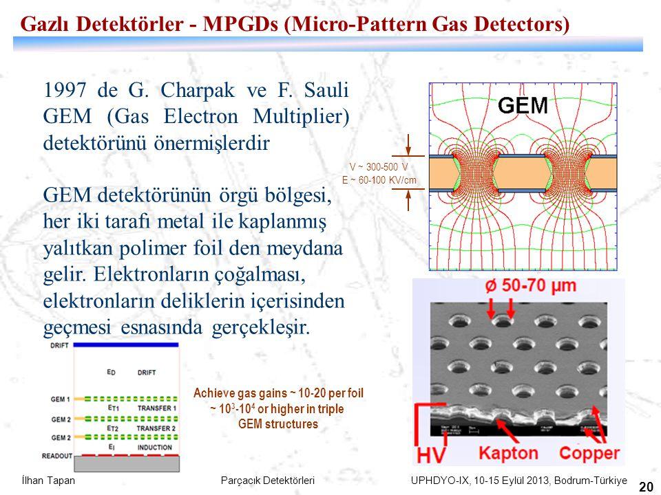 İlhan Tapan Parçacık Detektörleri UPHDYO-IX, 10-15 Eylül 2013, Bodrum-Türkiye 20 1997 de G. Charpak ve F. Sauli GEM (Gas Electron Multiplier) detektör