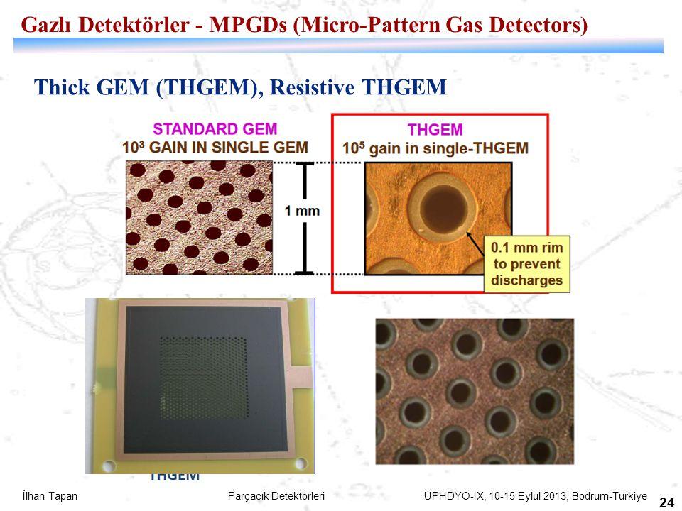 İlhan Tapan Parçacık Detektörleri UPHDYO-IX, 10-15 Eylül 2013, Bodrum-Türkiye 24 Thick GEM (THGEM), Resistive THGEM Gazlı Detektörler - MPGDs (Micro-P