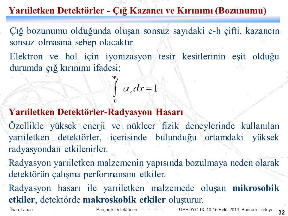 İlhan Tapan Parçacık Detektörleri UPHDYO-IX, 10-15 Eylül 2013, Bodrum-Türkiye 32 Yarıiletken Detektörler - Çığ Kazancı ve Kırınımı (Bozunumu) Çığ bozu