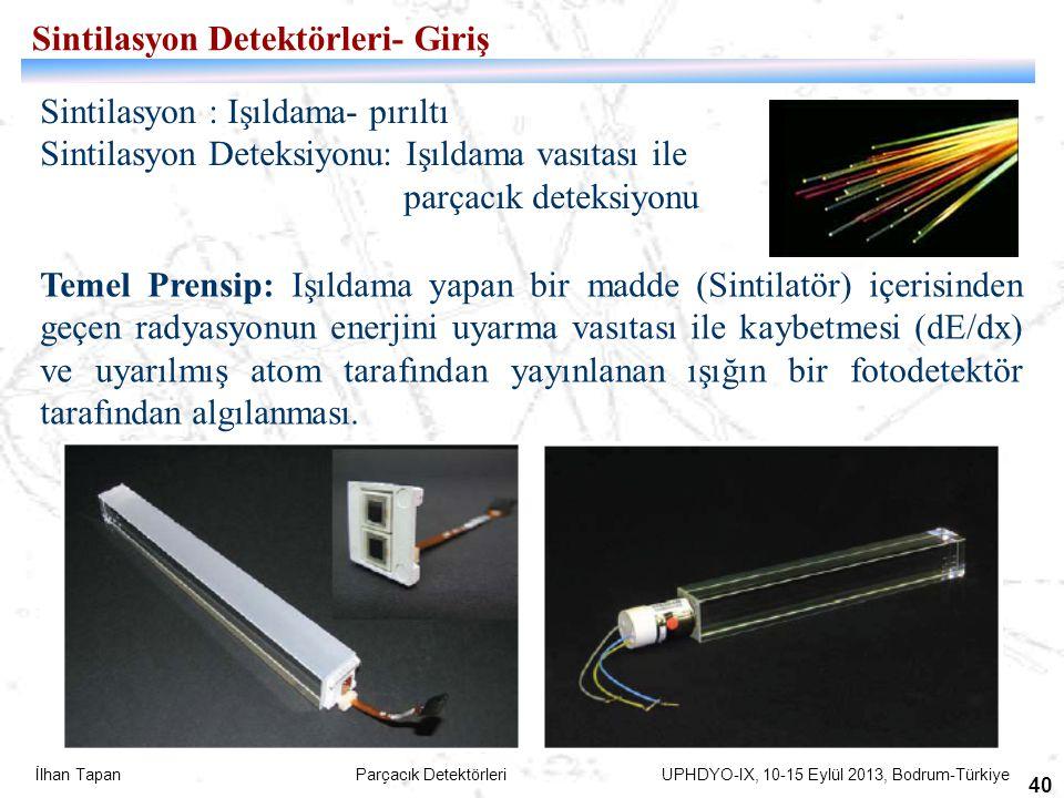 İlhan Tapan Parçacık Detektörleri UPHDYO-IX, 10-15 Eylül 2013, Bodrum-Türkiye 40 Sintilasyon : Işıldama- pırıltı Sintilasyon Deteksiyonu: Işıldama vas