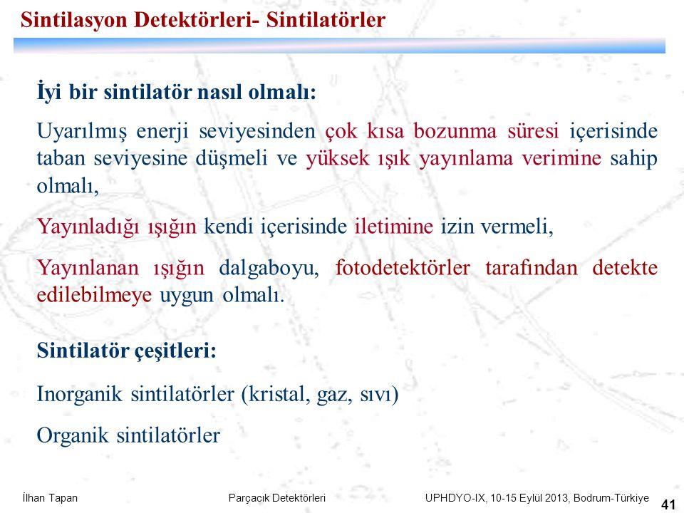 İlhan Tapan Parçacık Detektörleri UPHDYO-IX, 10-15 Eylül 2013, Bodrum-Türkiye 41 Uyarılmış enerji seviyesinden çok kısa bozunma süresi içerisinde taba