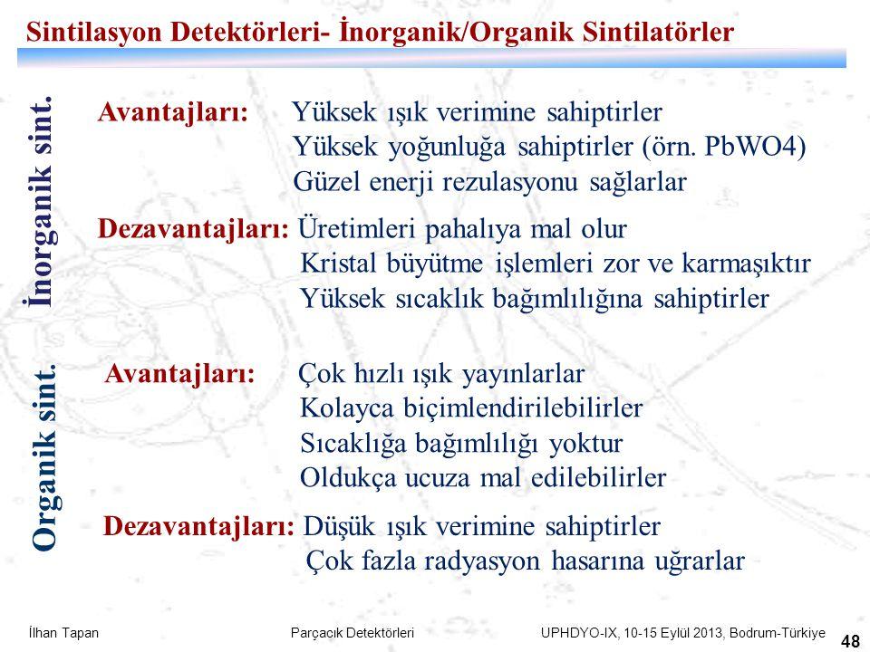 İlhan Tapan Parçacık Detektörleri UPHDYO-IX, 10-15 Eylül 2013, Bodrum-Türkiye 48 Sintilasyon Detektörleri- İnorganik/Organik Sintilatörler İnorganik s