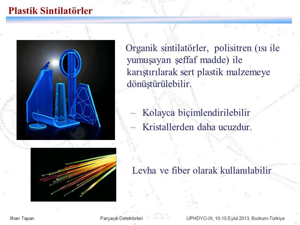 İlhan Tapan Parçacık Detektörleri UPHDYO-IX, 10-15 Eylül 2013, Bodrum-Türkiye Plastik Sintilatörler Organik sintilatörler, polisitren (ısı ile yumuşay