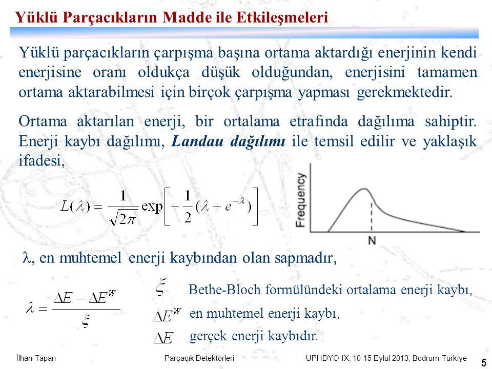 İlhan Tapan Parçacık Detektörleri UPHDYO-IX, 10-15 Eylül 2013, Bodrum-Türkiye 6 Gazlı Detektörler-Sinyal oluşum mekanizması Gazlı detektör içerisinde yol alan yüklü parçacığın izi boyunca iyonizasyon ile enerji kaybı sonucu oluşturacağı elektron-iyon çiftlerinin sayısı; = N 0  E parçacığın toplam enerji kaybı W i Bir elektron-iyon çifti üretmek için gerekli ortalama enerji (gazlar için ortalama 30 eV) Hacim içerisine bir elektrik alan uygulandığında, gaz içerisinde oluşmuş elektron-iyon çiftleri elektrik alan boyunca harekete zorlanırlar.