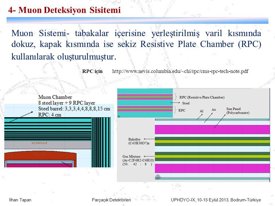 İlhan Tapan Parçacık Detektörleri UPHDYO-IX, 10-15 Eylül 2013, Bodrum-Türkiye 73 4- Muon Deteksiyon Sisitemi Muon Sistemi- tabakalar içerisine yerleşt