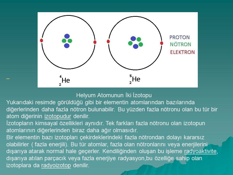 Helyum Atomunun İki İzotopu Yukarıdaki resimde görüldüğü gibi bir elementin atomlarından bazılarında diğerlerinden daha fazla nötron bulunabilir. Bu y