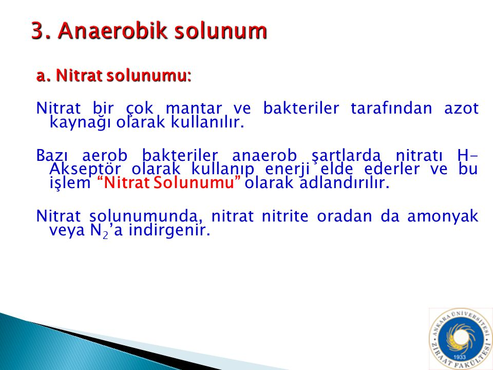 a. Nitrat solunumu: Nitrat bir çok mantar ve bakteriler tarafından azot kaynağı olarak kullanılır. Bazı aerob bakteriler anaerob şartlarda nitratı H-