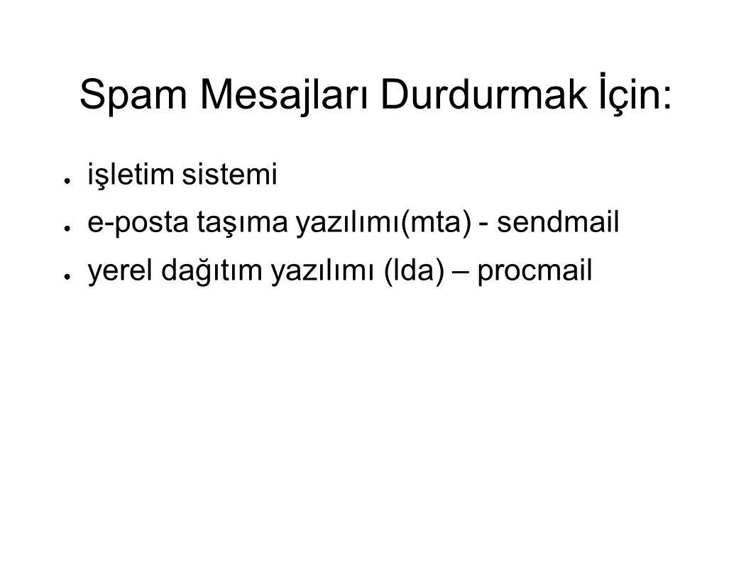 Spam Mesajları Durdurmak İçin: ● işletim sistemi ● e-posta taşıma yazılımı(mta) - sendmail ● yerel dağıtım yazılımı (lda) – procmail