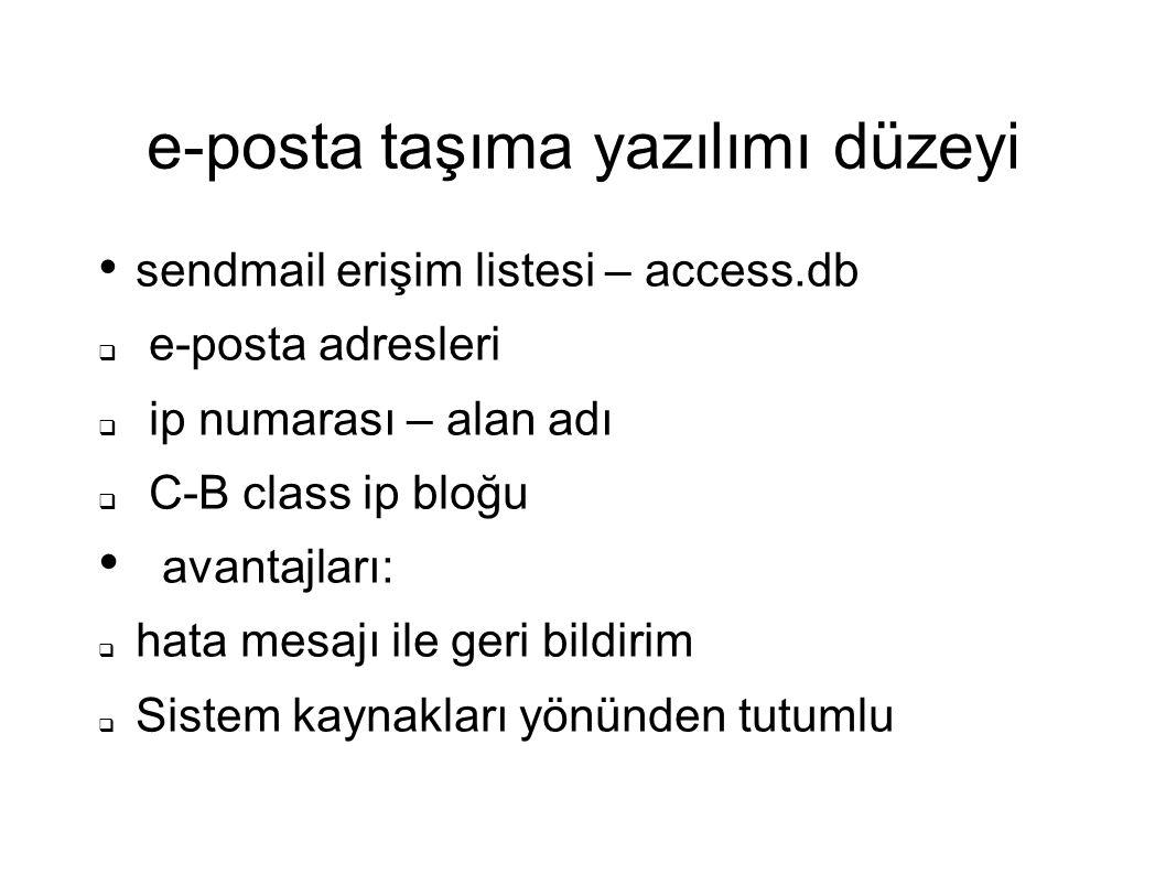 e-posta taşıma yazılımı düzeyi sendmail erişim listesi – access.db  e-posta adresleri  ip numarası – alan adı  C-B class ip bloğu avantajları:  ha