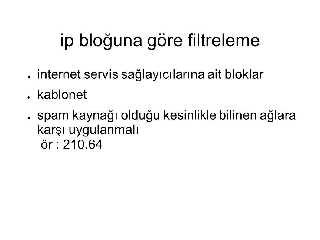 ip bloğuna göre filtreleme ● internet servis sağlayıcılarına ait bloklar ● kablonet ● spam kaynağı olduğu kesinlikle bilinen ağlara karşı uygulanmalı