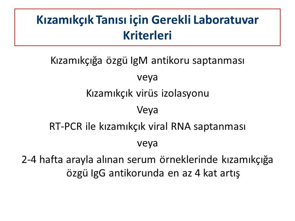 Kızamıkçık Tanısı için Gerekli Laboratuvar Kriterleri Kızamıkçığa özgü IgM antikoru saptanması veya Kızamıkçık virüs izolasyonu Veya RT-PCR ile kızamı