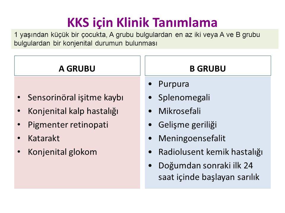 KKS için Klinik Tanımlama A GRUBU Sensorinöral işitme kaybı Konjenital kalp hastalığı Pigmenter retinopati Katarakt Konjenital glokom B GRUBU Purpura
