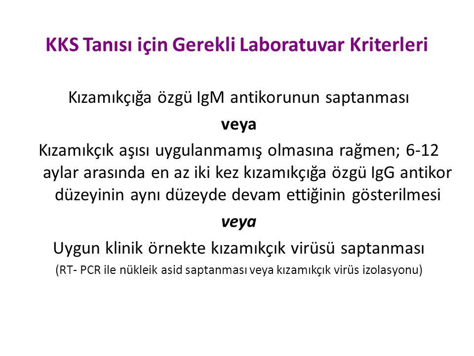 KKS Tanısı için Gerekli Laboratuvar Kriterleri Kızamıkçığa özgü IgM antikorunun saptanması veya Kızamıkçık aşısı uygulanmamış olmasına rağmen; 6-12 ay